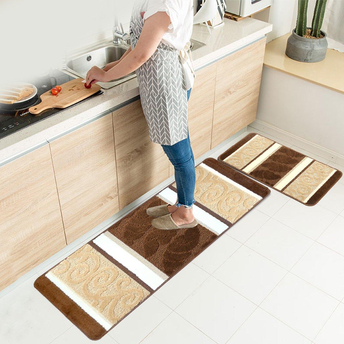 "HEBE Kitchen Rugs Set 2 Piece Machine Washable Non-Slip Kitchen Mats and Rugs Runner Set Rubber Backing Indoor Outdoor Entry Floor Carpet Door Mat Runner (18""x47""+18""x30"", Brown)"