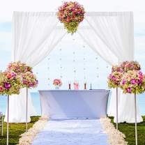 "Chiffon Backdrop Curtain 10FTx10FT Shower Curtain Chiffon Backdrop for Wedding Sheer Chiffon Curtains 2 Panels 59""x120"" Chiffon Fabric Drape for Party Stage Decoration (59''x120''x2pcs, White)"
