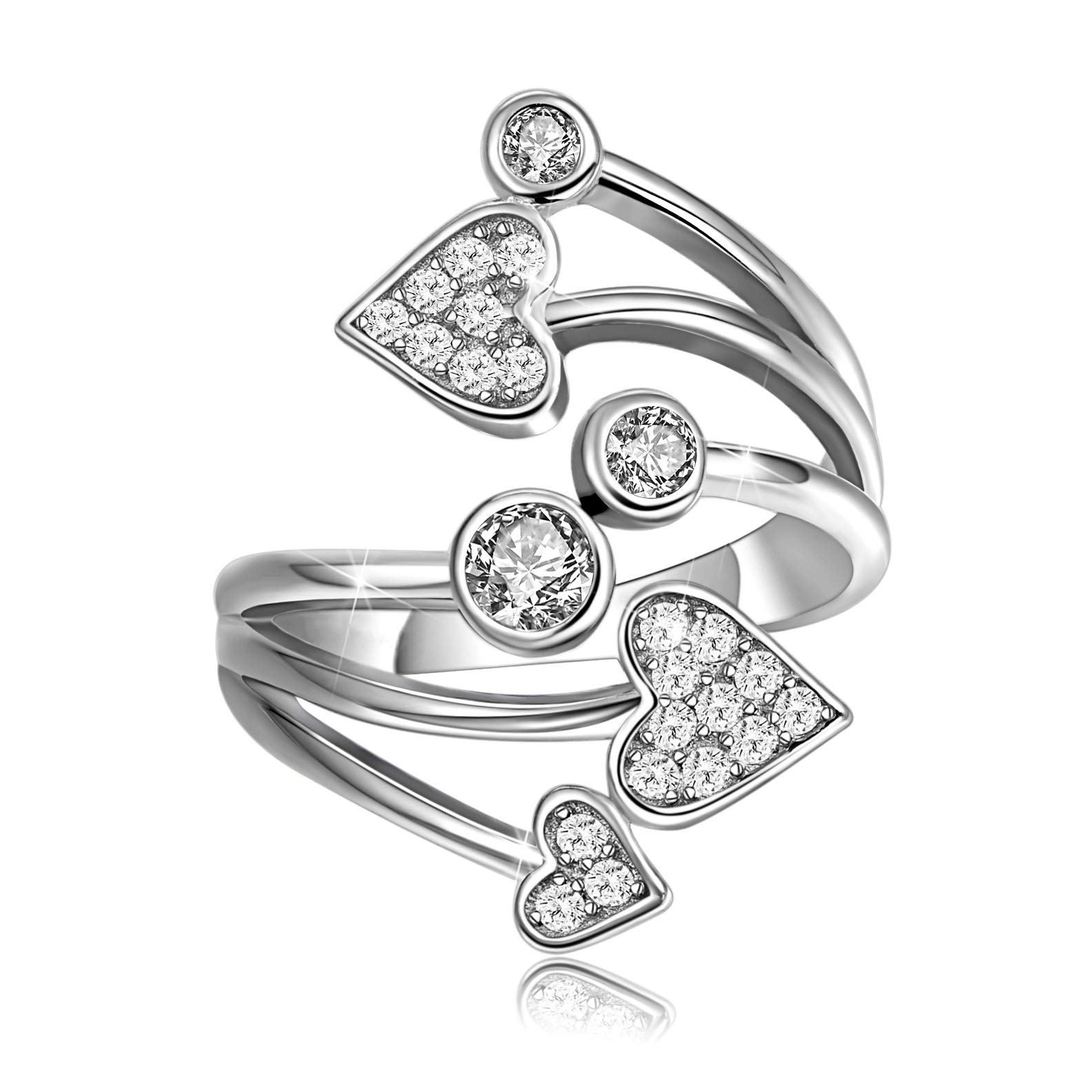 HOTIE 925 Sterling Silver Statement Ring, Love Heart CZ Rings for Women Girls, Cubic Zirconia Ring Band