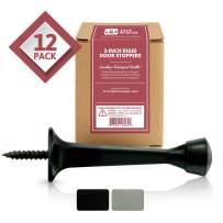 Jack N' Drill 3-Inch Rigid Door Stop (12 Pack) - Heavy Duty Solid Metal Door Stopper   Prevents Wall & Door Damage - Rigid Rubber Tip Door Stop for Kitchen, Bedroom, Office, Garage