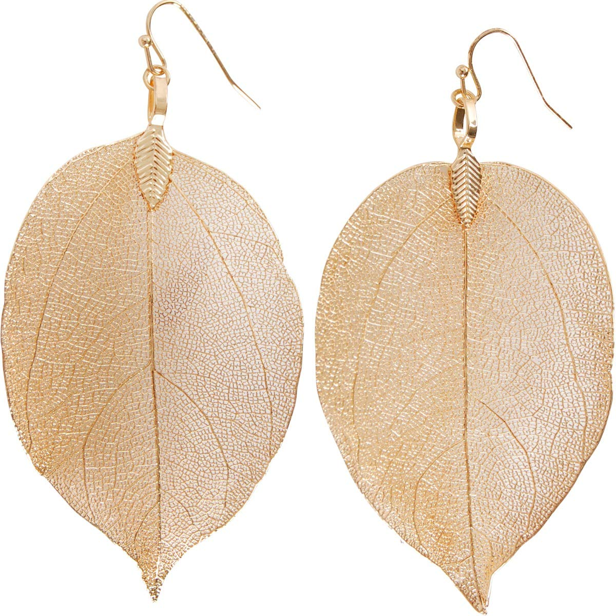Humble Chic Natural Leaf Earrings - Lightweight Plated Filigree Long Tear-Drop Dangle Earrings for Women, Made from Individually Unique Real Leaves