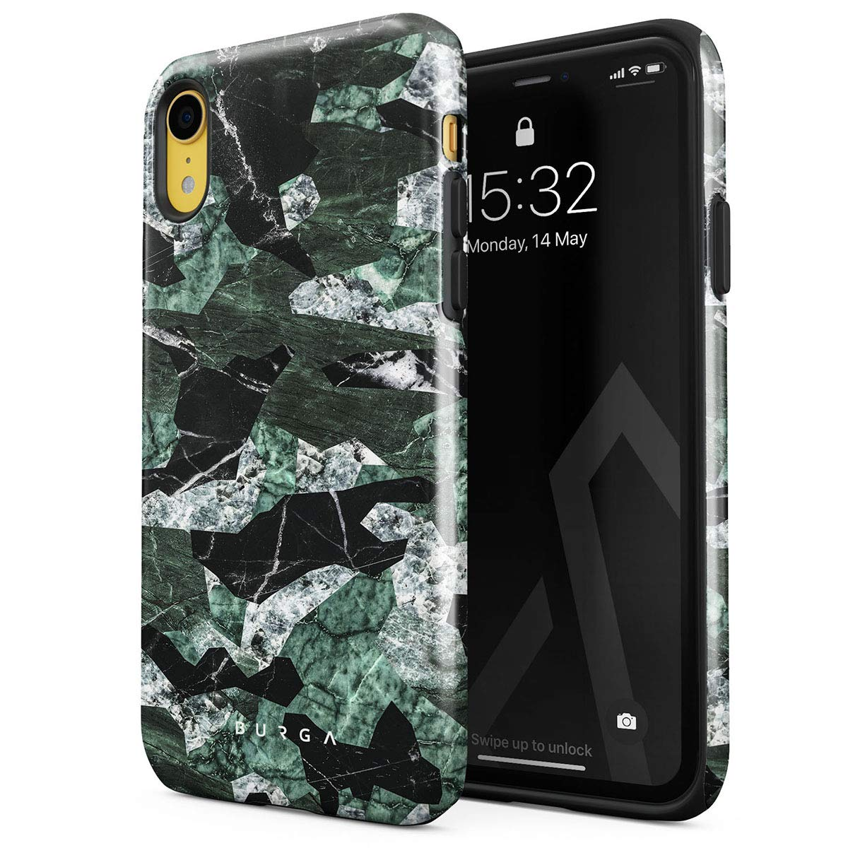 BURGA Phone Case Compatible with iPhone XR - Jade Green Military Forest Marble Camo Camouflage Cute Case for Girls Heavy Duty Shockproof Dual Layer Hard Shell + Silicone Protective Cover