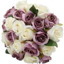 Nubry Artificial Roses Flower Fake Silk Rose Flowers Bouquet for Wedding Arrangements Centerpiece Home Party Festival Decor, Set of 2 (White+Purple)