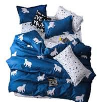 BeddingWish Duvet Cover Set Zipper Closure,White Pentacle Bear Printed,Ultra Soft Cozy Hypoallergenic (Including 1 Duvet Cover 2 Pillow Shams,Twin, 3pcs)