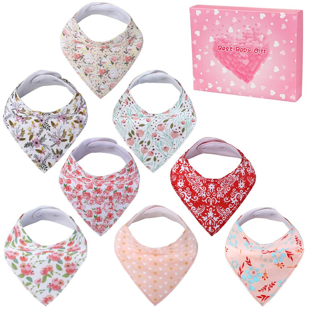 Nasjac Baby Bibs for Girls 8 Pack Baby Bandana Bibs for Baby Girl 100% Organic Cotton Bibs for Drooling and Teething Soft & Absorbent Bandana Bibs for Baby Girl - Baby Shower Gift Set