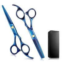 "Hair Cutting Scissors/Thinning Shears, 2pc Professional Hair Shears - 6.7"" Barber Haircut Scissors For Hair Cutting, Cool Coloring Hair Scissors For Men/Women (Blue)"