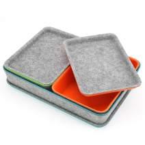 Welaxy Felt Drawer Organizer Trays with lids Desktop Organizer Bins Storage bin for Junk Makeup Stationery Organize, 3- Pack (Orange + Green + Turquoise)