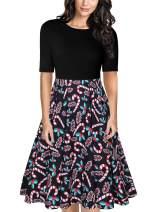 MISSJOY Women's Vintage Patchwork Dresses Women Half Sleeve Work Dress Slim Fit and Flare Floral Swing Dress with Pockets