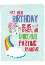 NobleWorks - Unicorns and Rainbows - Magical Animal Funny Birthday Greeting Card with Envelope (Big 8.5 x 11 Inch) J6892BDG