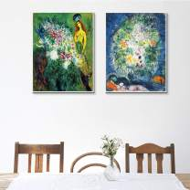 """INVIN ART Framed Canvas Giclee Print Art Combo Painting 2 Pieces by Marc Chagall Wall Art Series#12 Living Room Home Office Decorations(White Slim Frame,20""""x24""""Each Piece)"""