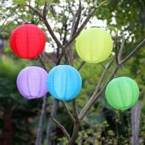 "8 inch Solar Hanging Ball Lanterns - 5 PCS Multicolor Nylon Japanese Chinese Lantern Outdoor - LED Solar Lights Garden Patio Pathway Wedding Tree Decoration Birthday Party (5 Pack 8"" Set)"