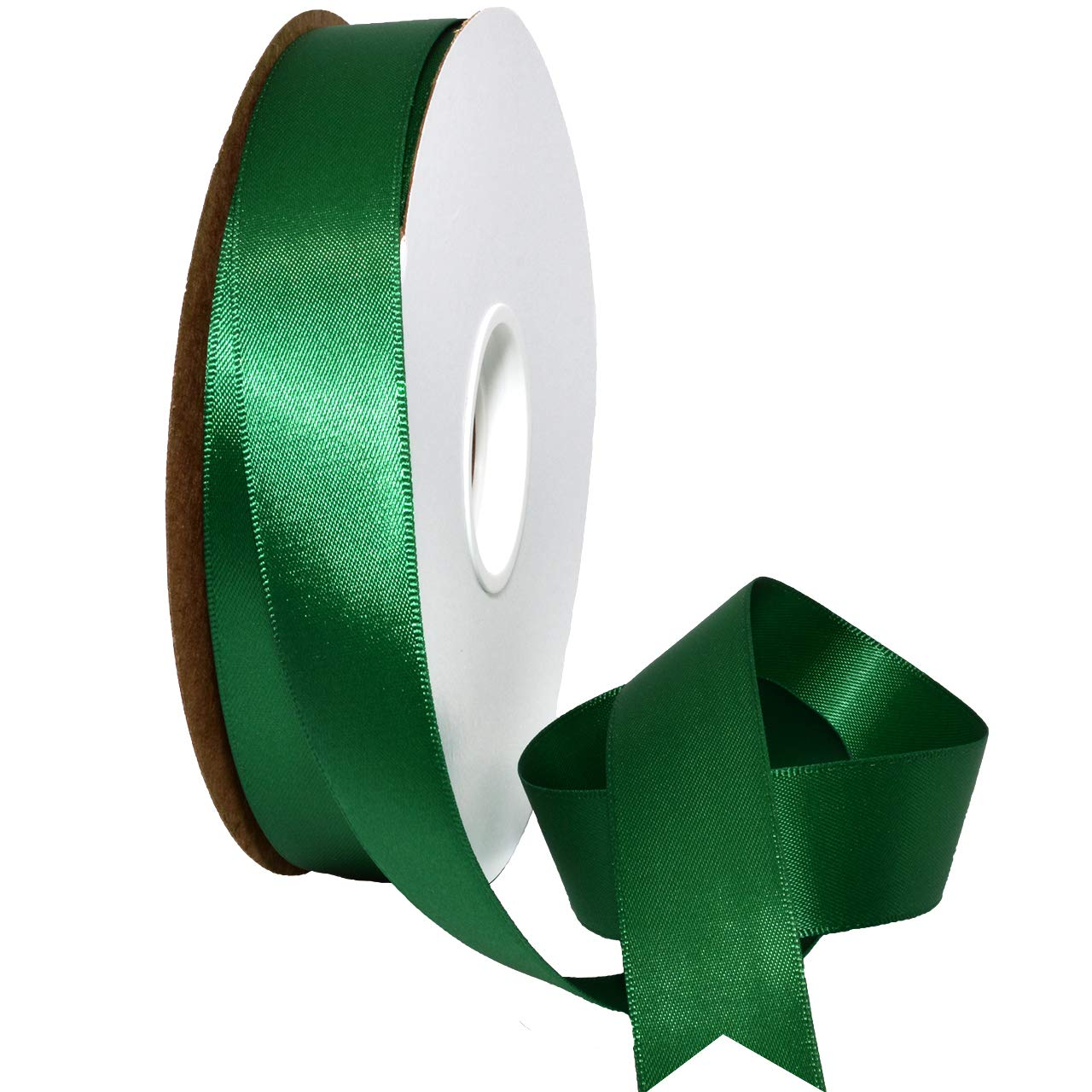 Morex Ribbon Double Face Satin Ribbon, 7/8 Inch by 50 Yards, Forest Green