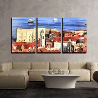 """wall26 - 3 Piece Canvas Wall Art - Colorful Painting of Cityscape of Dubrovnik - Modern Home Decor Stretched and Framed Ready to Hang - 16""""x24""""x3 Panels"""