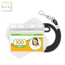 Claev Horizontal ID Badge Holder & Lanyard Set (Black, 2.25x3.5 Inch, 100 Pack), Clear Waterproof Name Badge Holders & Soft Braided Lanyards
