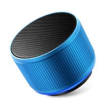Alfway Mini Small Portable Wireless Bluetooth Speaker with LED Light and Built-in Mic, Supports AUX Audio Input and TF Card Playing (Blue)