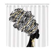 LB Black and White Shower Curtains for Bathroom Fashion African American Afro Black Woman Girly Shower Curtain with Hooks 72x78 inch Extra Long Polyester Fabric Waterproof