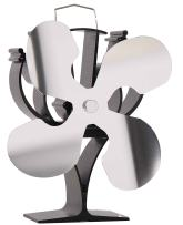 New designed 4 Blades Heat Powered Stove Fan for Wood/Log Burner/Fireplace - Eco Friendly(Nickel)