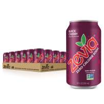 Zevia Zero Calorie Soda Can, Black Cherry, Naturally Sweetened Soda, Black Cherry-flavored Carbonated Soda, Refreshing, Full of Flavor and Delicious with No Sugar, 12 Fl Oz, Pack of 24