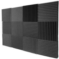 """Mybecca 12 Pack Acoustic Foam Tiles Soundproofing Wedges Wall Panels 12"""" x 12"""" x 1"""""""