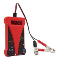 MOTOPOWER MP0514C 12V Digital Battery Tester Voltmeter and Charging System Analyzer with LCD Display and LED Indication - Red Rubber Paint
