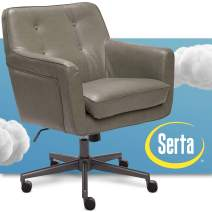 Serta 47140G Ashland Home Office Upholstered Chair with Mid Century Modern Design, Bonded Leather, GRAY