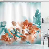 """Ambesonne Tropical Shower Curtain, Tropical Orchids Blossom Leaves on Blurred Background Floral Themed Modern Art, Cloth Fabric Bathroom Decor Set with Hooks, 84"""" Long Extra, Orange Teal"""