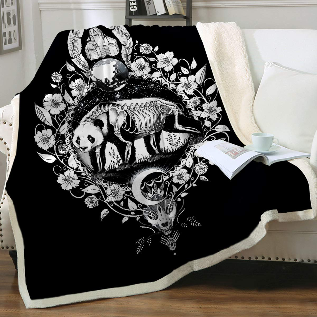 "Panda Black by Pixie Cold Art Zombie Panda Blankets and Throws Soft Fleece Sugar Skull Blanket Black Skeleton Sherpa Plush Blanket for Boys and Adults,Twin (60"" X 80"")"