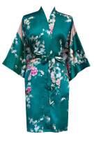 KIM+ONO Women's Satin Kimono Robe Short - Floral