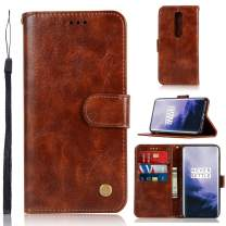Minkuke OnePlus 7 Pro Phone Case Wallet Flip Vintage Leather Protective with Wrist Strap, Credit Card Slots,Stand Function (Brown)