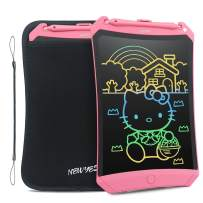 NEWYES LCD Writing Tablet 2020 Improved Colorful Screen 8.5 Inch Electronic Writing Board Doodle and Scribble Notepad Erasable Magnetic Drawing Memo with Case and Lanyard Gift for Girls Kids Pink