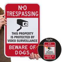 """SmartSign """"No Trespassing - Property Protected by Video Surveillance, Beware Of Dogs"""" Sign   12"""" x 18"""" 3M Engineer Grade Reflective Aluminum"""