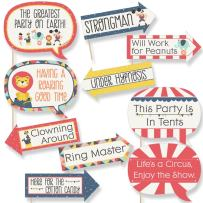 Big Dot of Happiness Funny Carnival - Cirque du Soiree - Baby Shower or Birthday Party Photo Booth Props Kit - 10 Piece