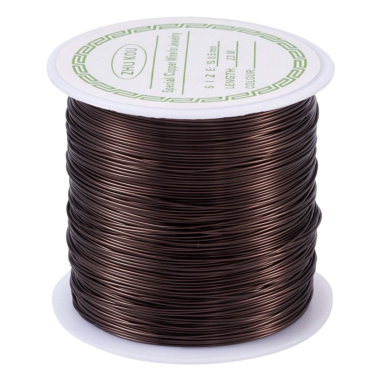 Pandahall 75.5 Feet Tarnish Resistant Copper Wire 24 Gauge Jewelry Beading Craft Wire for Jewelry Making (Saddle Brown)