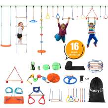 Gasky Ninja Warrior 16 Obstacles Course Kit for Kids - 55 ft Ninja Slackline Kit for Kids Backyard Outside - Capacity 1320lbs - with Adjustable Buckles Tree Protectors Carry Bag - Double Line Design