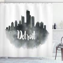 "Ambesonne Detroit Shower Curtain, Smoky City Skyline with Brushstrokes Hand Written Style Letters Buildings, Cloth Fabric Bathroom Decor Set with Hooks, 75"" Long, Charcoal White"