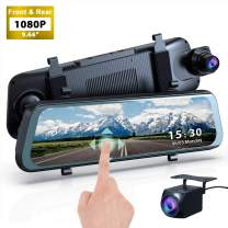 "Mirror Dash Cam, 1080P HD 9.66"" Streaming Media Full Touch Screen Car Camera Featured with 170° Front Camera, 160° Rear Camera, Night Vision, G-Sensor, WDR, Parking Monitor and Assist"
