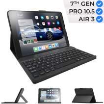 iPad 7th Generation Case with Keyboard and Pencil Holder - Compatible with iPad 10.2, iPad Air 3, iPad Pro 10.5 - Wireless, Smart Keyboard Folio for Apple iPad - iPad 10.2 Keyboard - Black