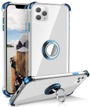 iPhone 11 Pro Max Case, Daupin Clear iPhone 11 Pro Max Case with 360 Rotatable Ring Kickstand Soft TPU Bumper PC Hard Back Protective Phone Case for iPhone 11 Pro Max (Blue)