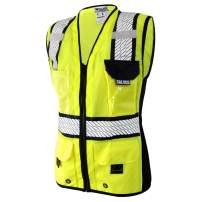 SALVUS Primus Class 2 Premium Heavy Duty High Visibility Reflective Female Safety Vest for Women Meets ANSI/ISEA 107-2015 and OSHA Visibility Standards (Large, Yellow)