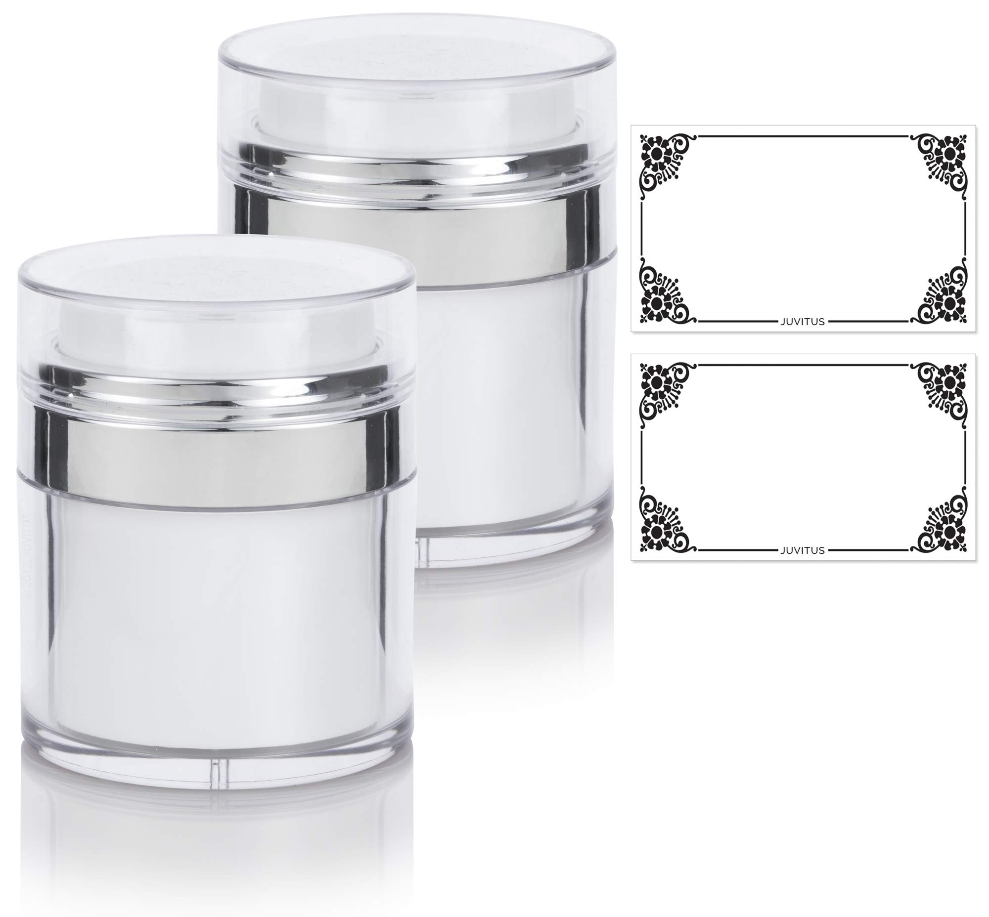 1.7 oz / 50 ml White Airless Refillable Jar (2 PACK) + Labels - keeps out air changing oxidation from your skin care products - durable, leak proof, and shatterproof for home or travel