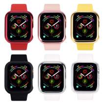 Tranesca 6 Pack 42mm Slim Hard Apple Watch Case with Built in Ultra Thin Full Coverage Tempered Glass Screen Protector for Apple Watch Series 2 and Series 3 ( Red, Rose Gold,Gold,Black,Silver,Clear)