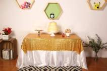 Poise3EHome Sequin Tablecloth 50x72 Inches Rectangle Table Line for Wedding Christmas Party Cake Dessert Events Decorations, Gold