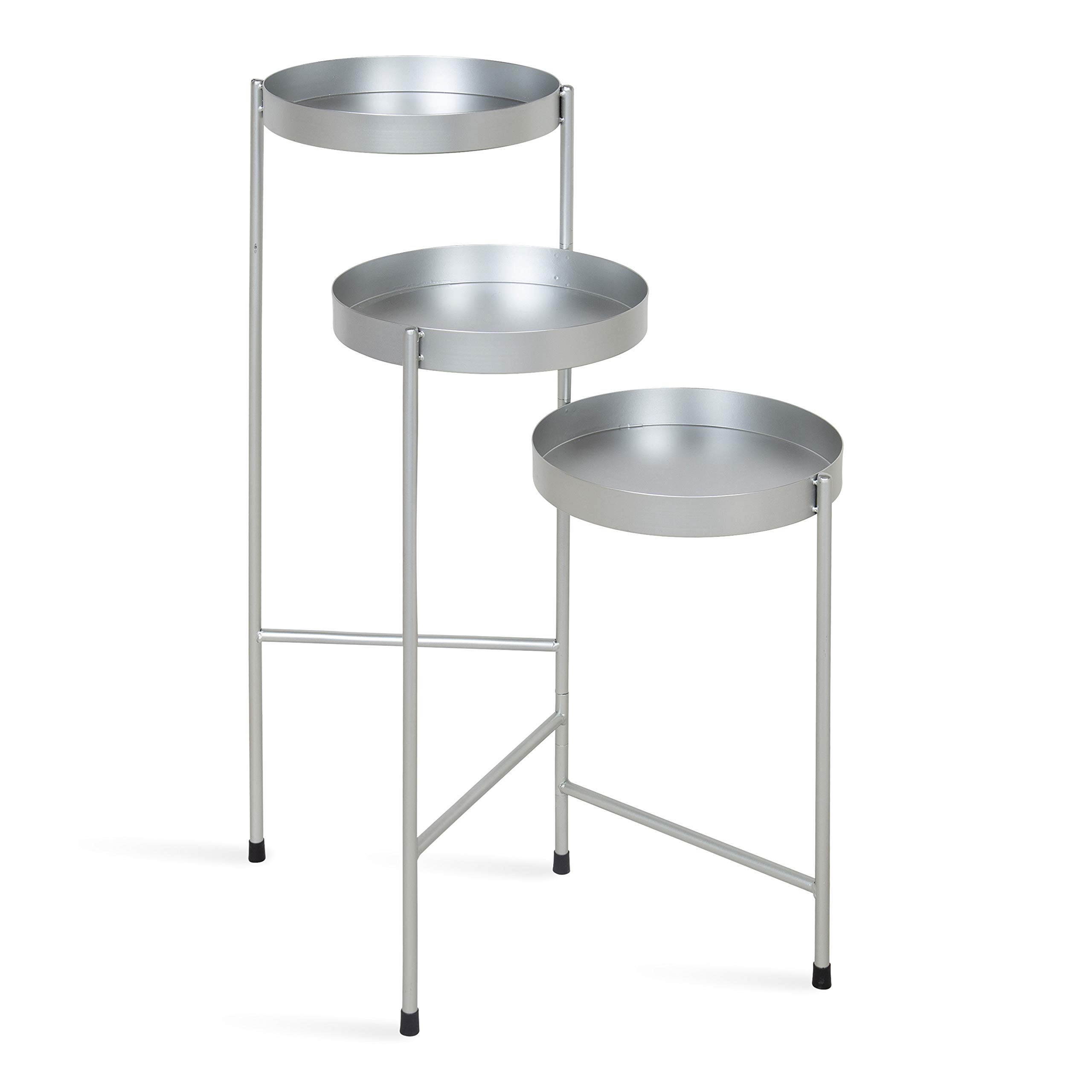 Kate and Laurel Finn Tri-Level Metal Plant Stand, Silver