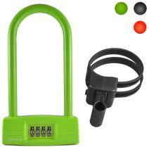 Lumintrail Bicycle Combination U-Lock 14mm with Mounting Bracket and Optional 4-Foot Braided Steel Security Cable