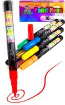 10 Paint Pens - Paint Marker Pens, Water Based Colors for Kids Adults, Sun - Water Resistant Fine Point, Paint on Rock, Wood, Glass, Ceramic, Metal, Clothes, Skin - Almost All Surfaces Model 2020
