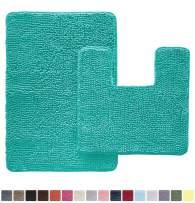Gorilla Grip Original Shaggy Chenille 2 Piece Area Rug Set, Includes Square U-Shape Contoured Toilet Mat & 30x20 Bathroom Rugs, Machine Wash/Dry Mats, Plush Rugs for Tub Shower & Bath Room, Turquoise
