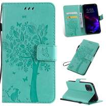 Cmeka 3D Cat Tree Flower Butterfly Wallet Case for iPhone 11 2019 6.1 inch Slim Flip Leather Protective Case Magnetic Closure Credit Card Slots Holder Kickstand Function Mint Green