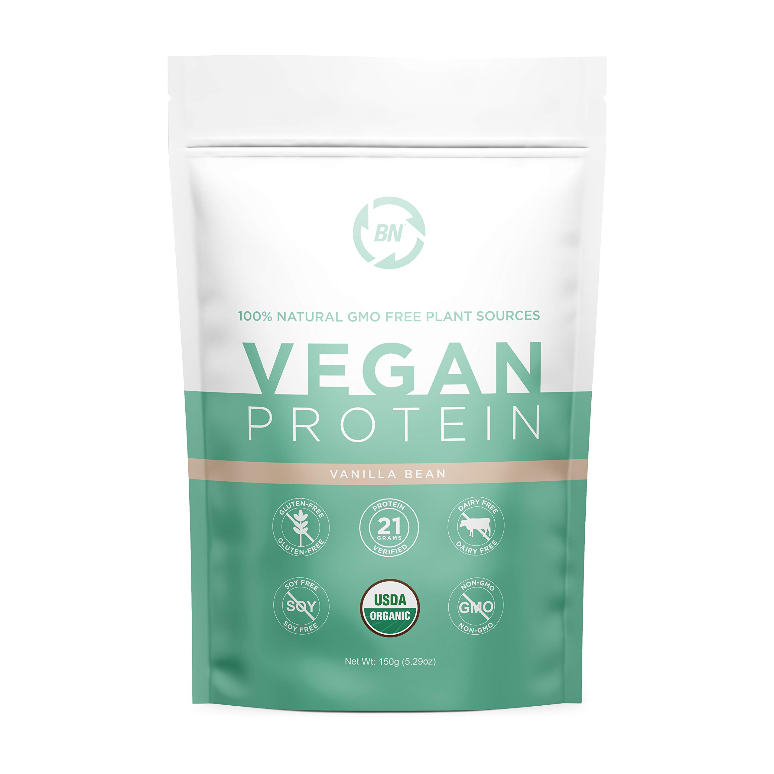 Organic Vegan Protein Powder Trial Size - Plant Based Protein Powder Blend with Pea Protein and Added Organic Omega's - Raw, Non Dairy, Gluten & Soy Free, Non GMO (Vanilla, 5 Serving)