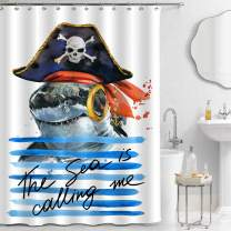 MitoVilla Cartoon Pirate Animal Decorations for Kids Bathroom, Cute Pirate Shark in Skull Hat on Blue Ocean Waves Waterproof Fabric Shower Curtain Set with Hooks, 72 x 78 inches Long for Baby Bathtub