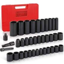 """Hromee 3/8"""" and 1/2"""" Drive Impact Socket Set, Deep and Shallow, Standard SAE and Metric, 3/8"""" - 1-1/4"""" and 8 mm - 32 mm, 38 Pieces CR-V and 6-Point Impact Socket Set with Extension Bar and Adapter"""